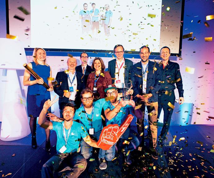 Die Jury und die Sponsoren von trend@venture freuen sich mit dem Gründerteam von Swell. Foto: trend Michael Appelt