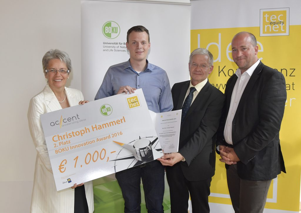 2. Platz Innovation Award 2016 Landesrätin Petra Bohuslav, Christoph Hammerl, Josef Glößl, Michael Moll Copyright: NLK Johann Pfeiffer