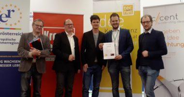 """Nilolaus Nenning mit seiner Onlineplattform """"Zugkraft"""" gewinnt die tecnet pitiching days in Wieselburg."""