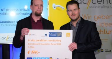 tecnet|accent Innovation Award 2020 am TFZ Wr. Neustadt vergeben
